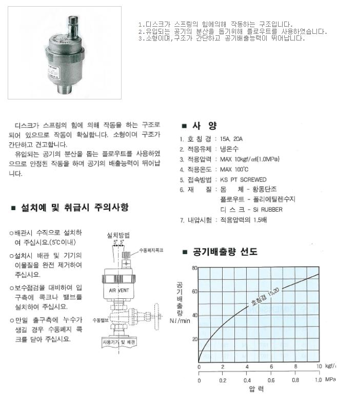 대유상공 에어벤트 (물용) (JKV-6) JAV-FT11