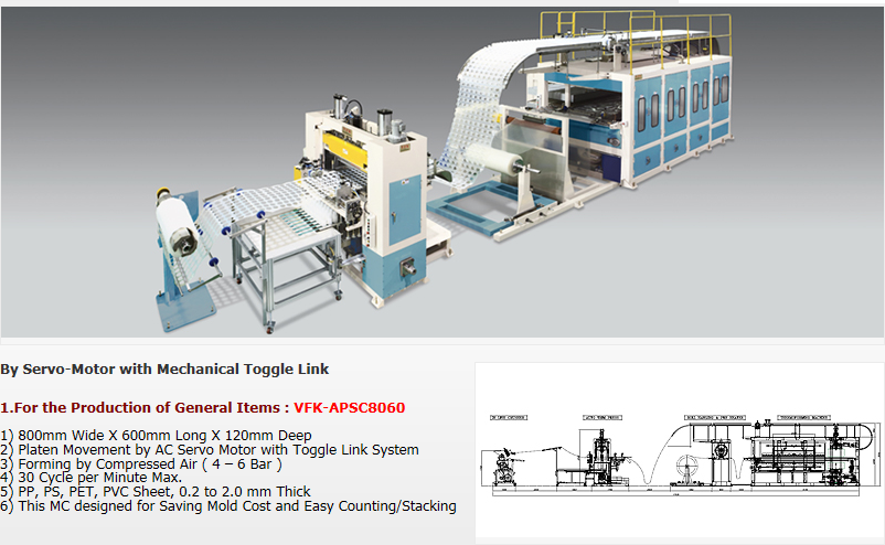 VFK High Speed Air-Pressure ThermoForming MC for CUP and General Items VFK-APSC8060