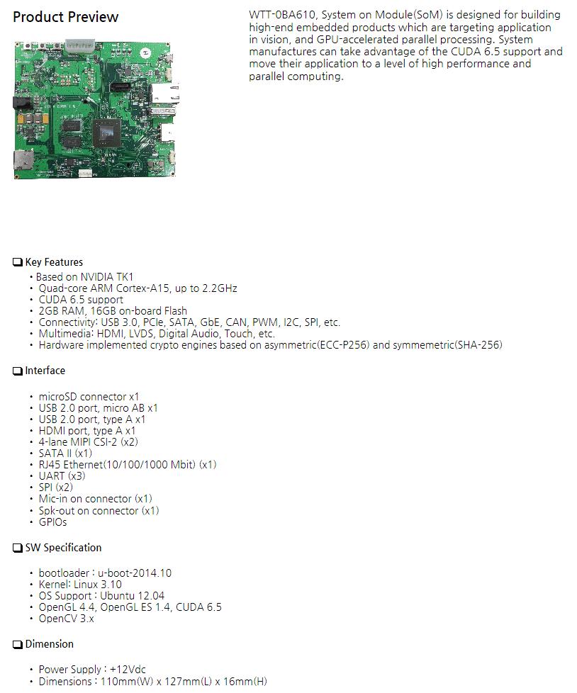 WAYTOTEC - System on Module based on NVIDIA Tegra K1 - WTT-0BA610