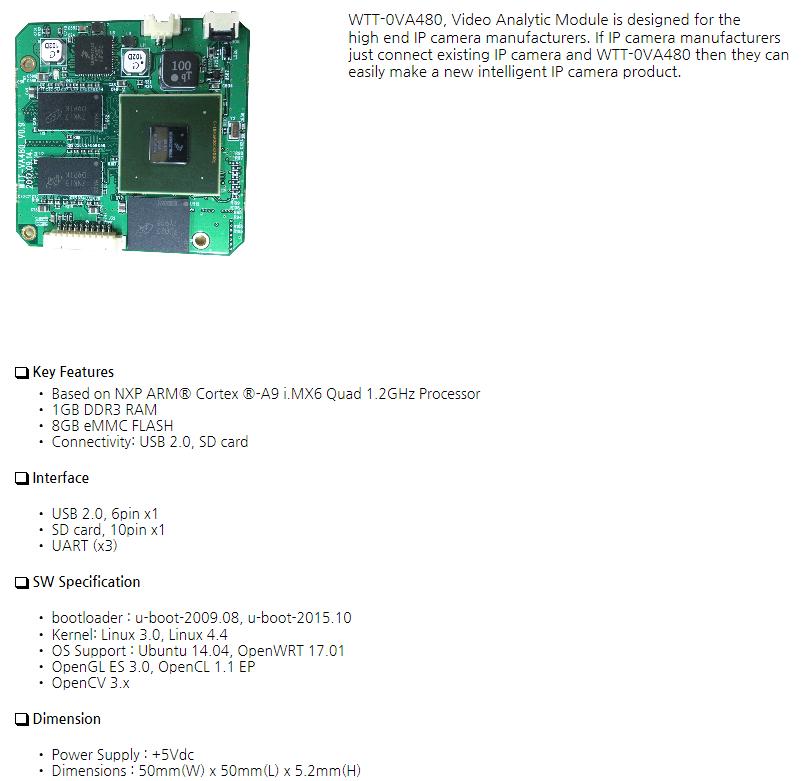 웨이투텍 IMX6 Based Video Analytic Module WTT-0VA480