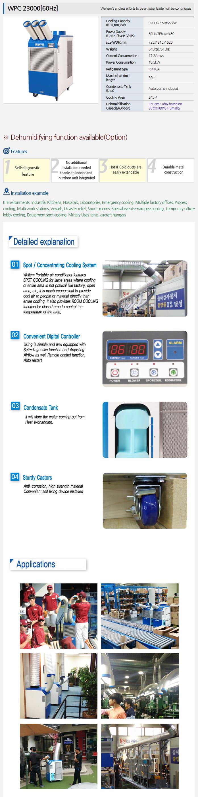 WELTEM Portable A/C (60Hz) WPC-23000