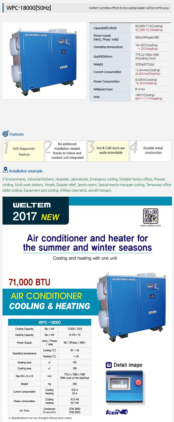 WELTEM A/C & Heating (50Hz) WPC-18000