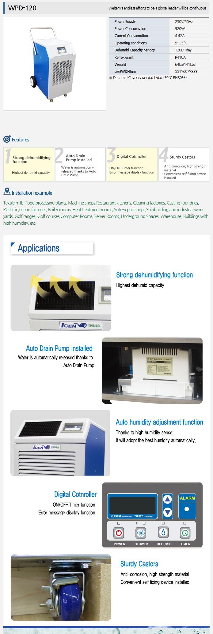 WELTEM Dehumidifier (50Hz) WPD-120