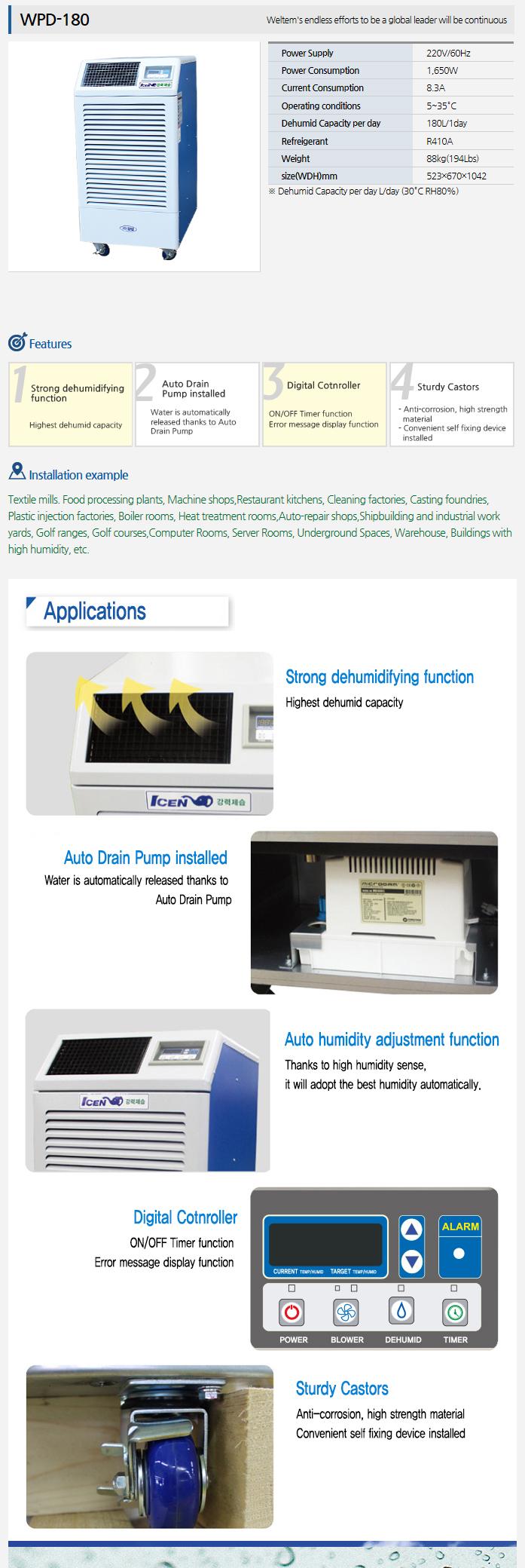WELTEM Dehumidifier WPD-180