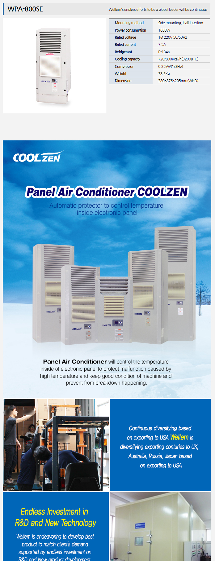 WELTEM Panel Air Conditioner WPA-800SE