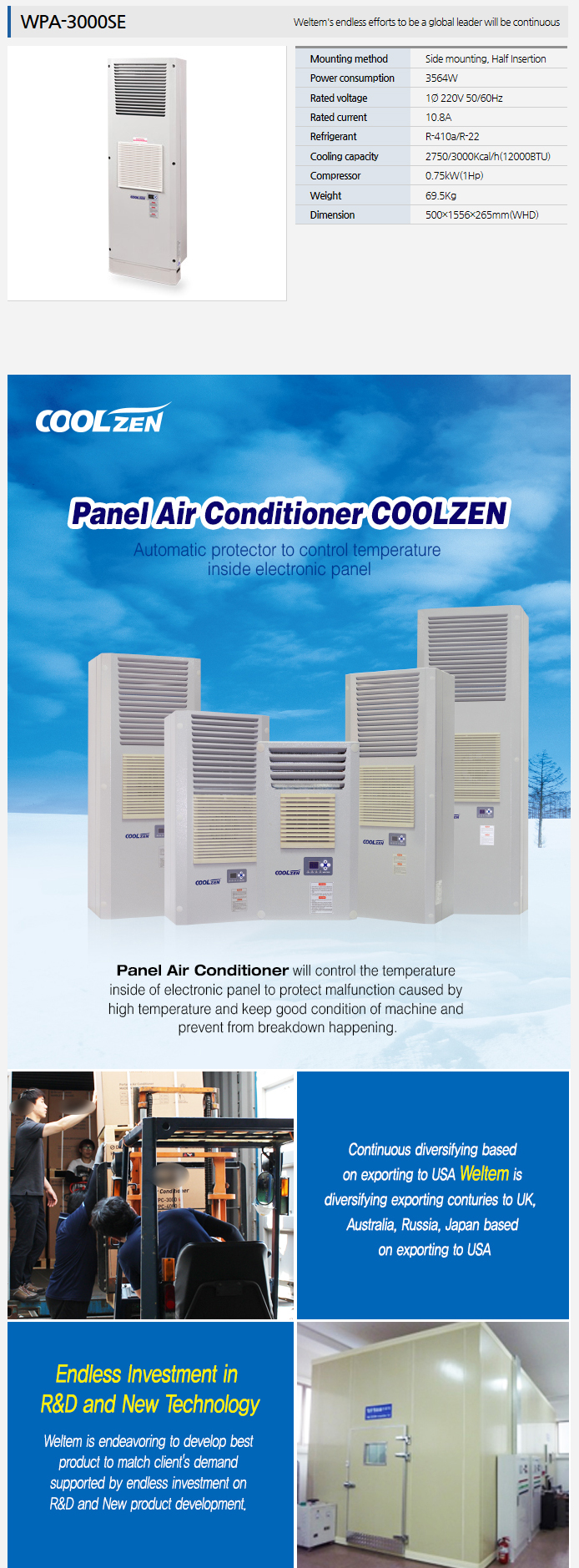 WELTEM Panel Air Conditioner WPA-3000SE