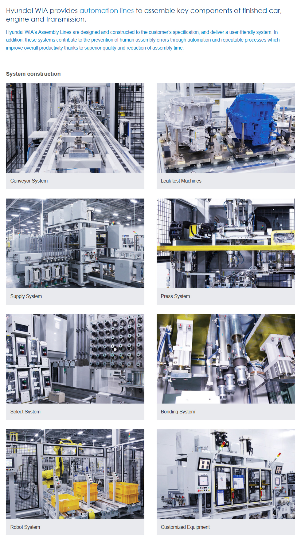 HYUNDAI WIA - Assembly automation line Automobile Parts