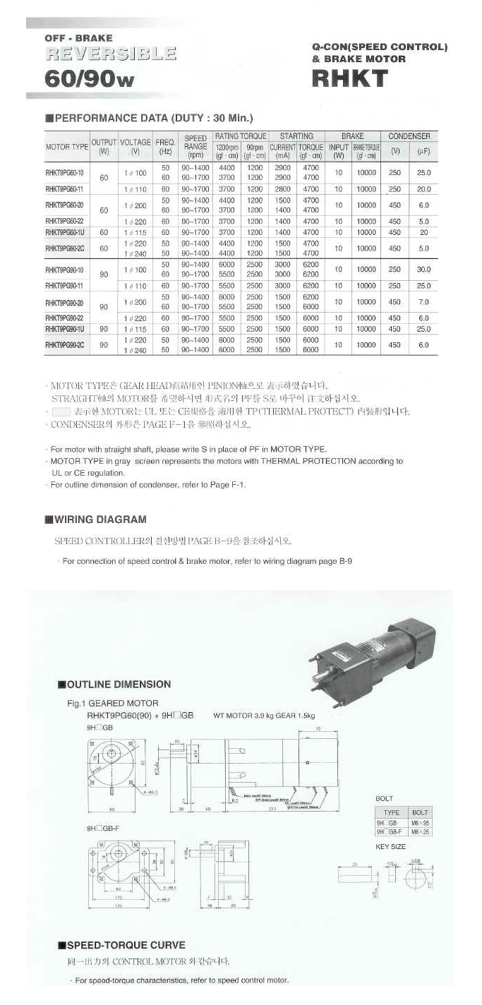 Woojin Servo Speed Control Brake Motor HKT-Series 3