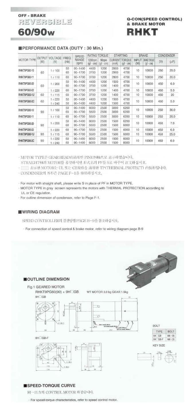 (주)우진써보 스피드콘트롤 브레이크 모터 HKT-Series 7