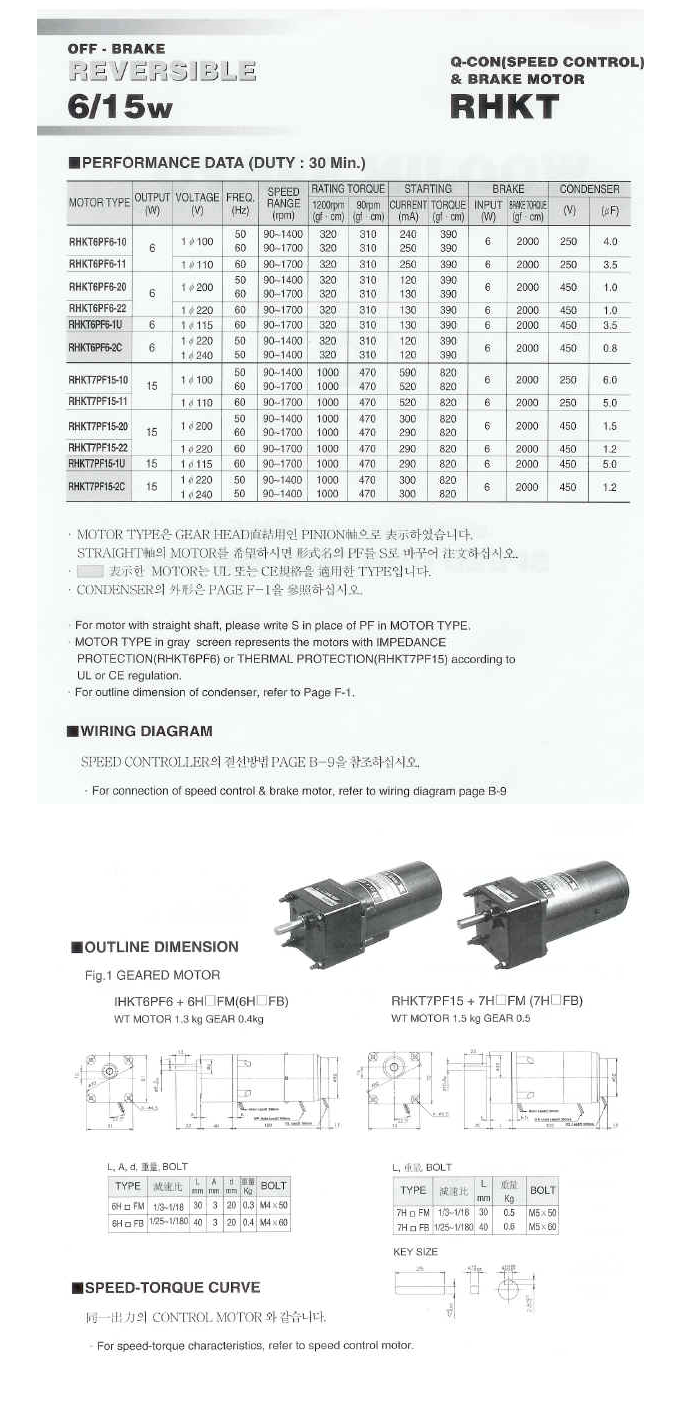Woojin Servo Speed Control Brake Motor HKT-Series 1