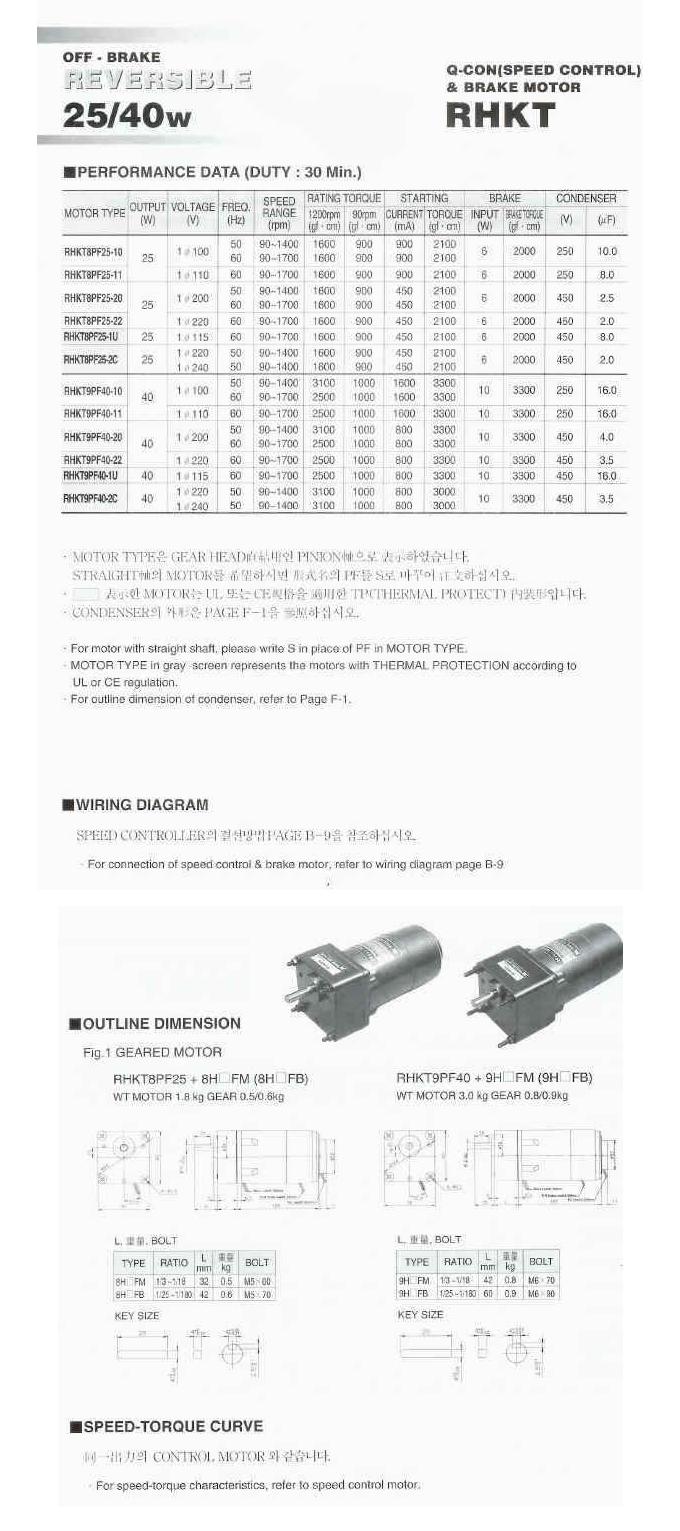 (주)우진써보 스피드콘트롤 브레이크 모터 HKT-Series 6