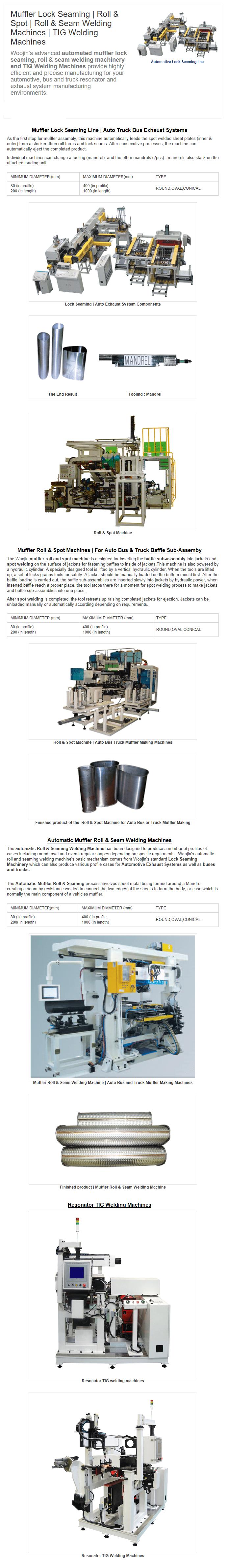 Woojin Engineering Lock Seaming / Roll & Spot / Roll & Seam Welding Machines / TIG Welding Machines
