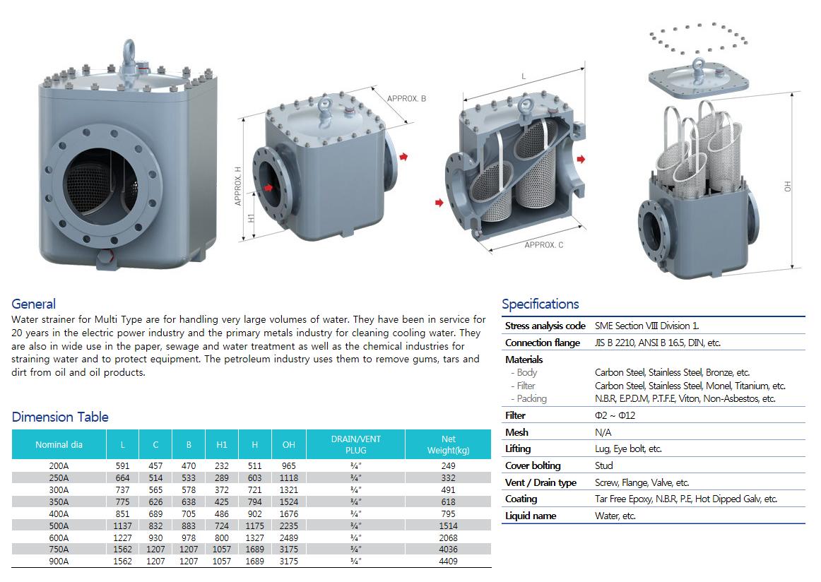 Woosungflowtec Water Strainer for Multi Type M/N:WM