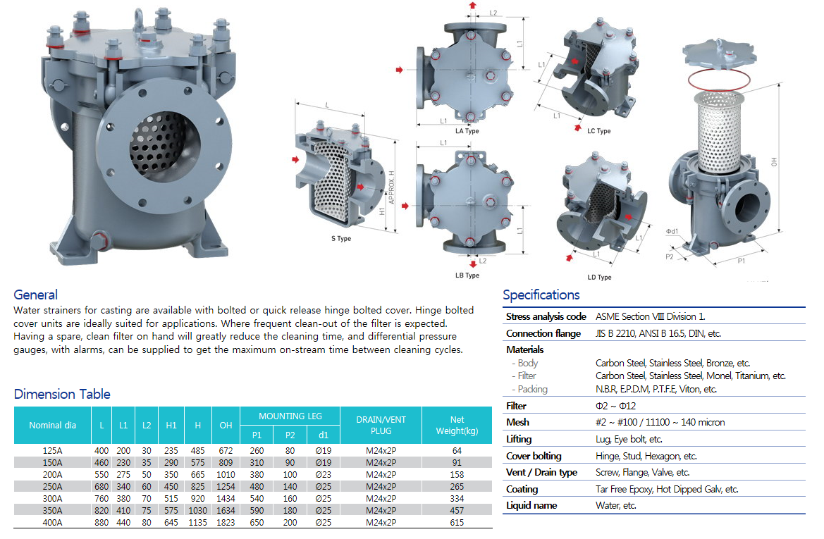 Woosungflowtec Water Strainer for Casting M/N : WC1, M/N : WC2 1