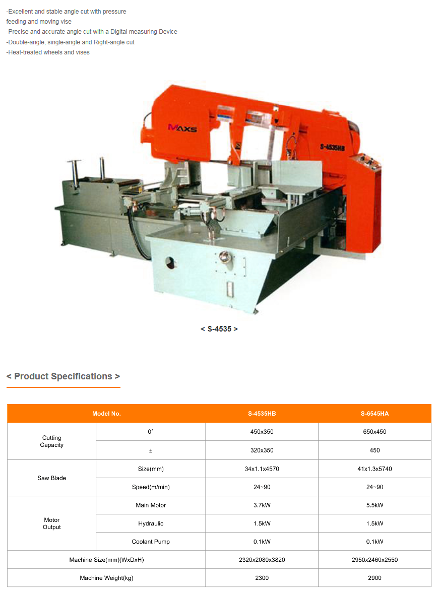 WOOYOUNG Band Saw Machine (Angle Cut Type) S-Series