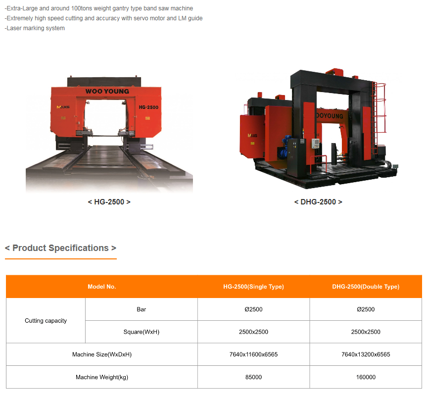 WOOYOUNG Band Saw Machine (Gantry) H-Series