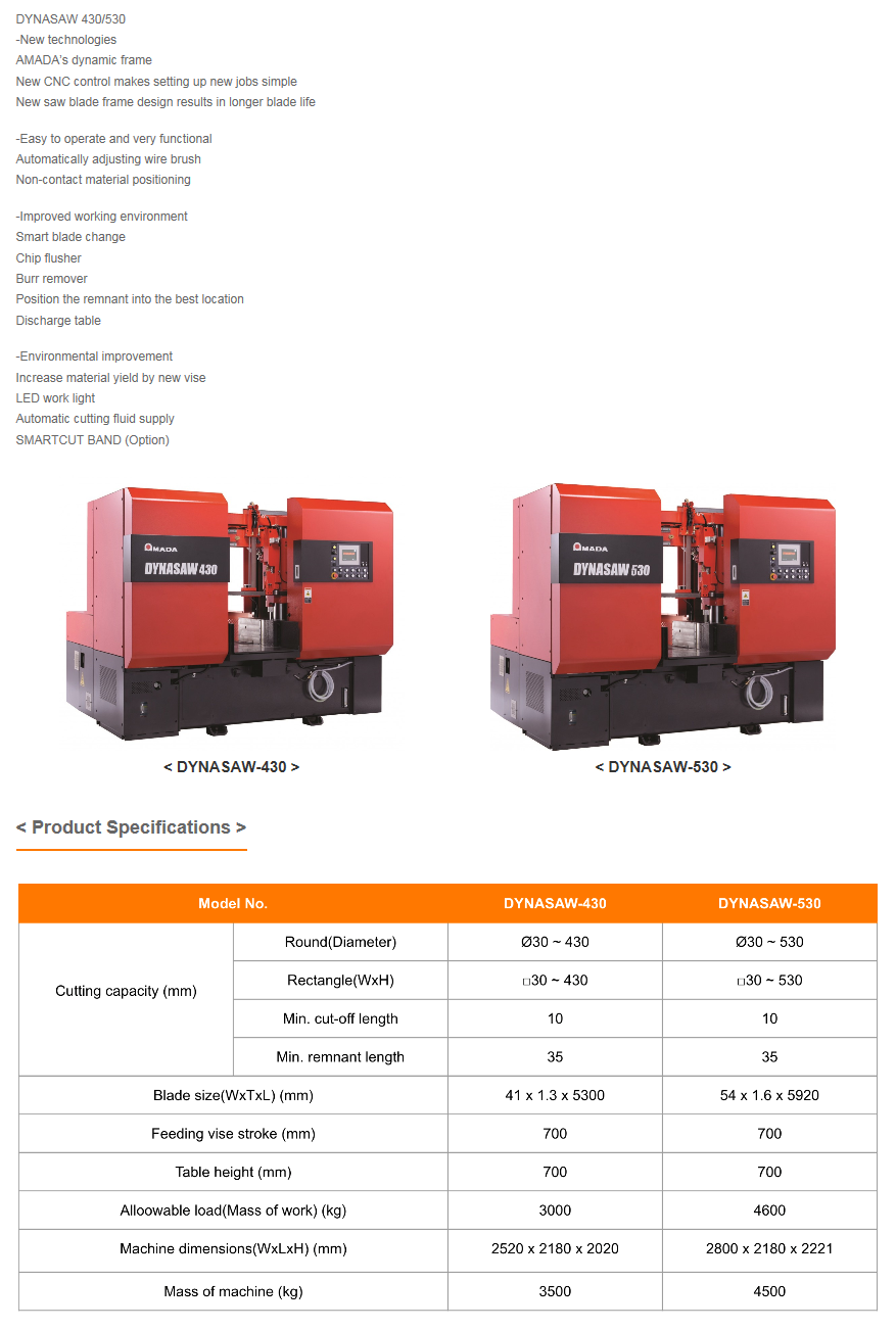 WOOYOUNG Band Saw Machine DYNASAW Series