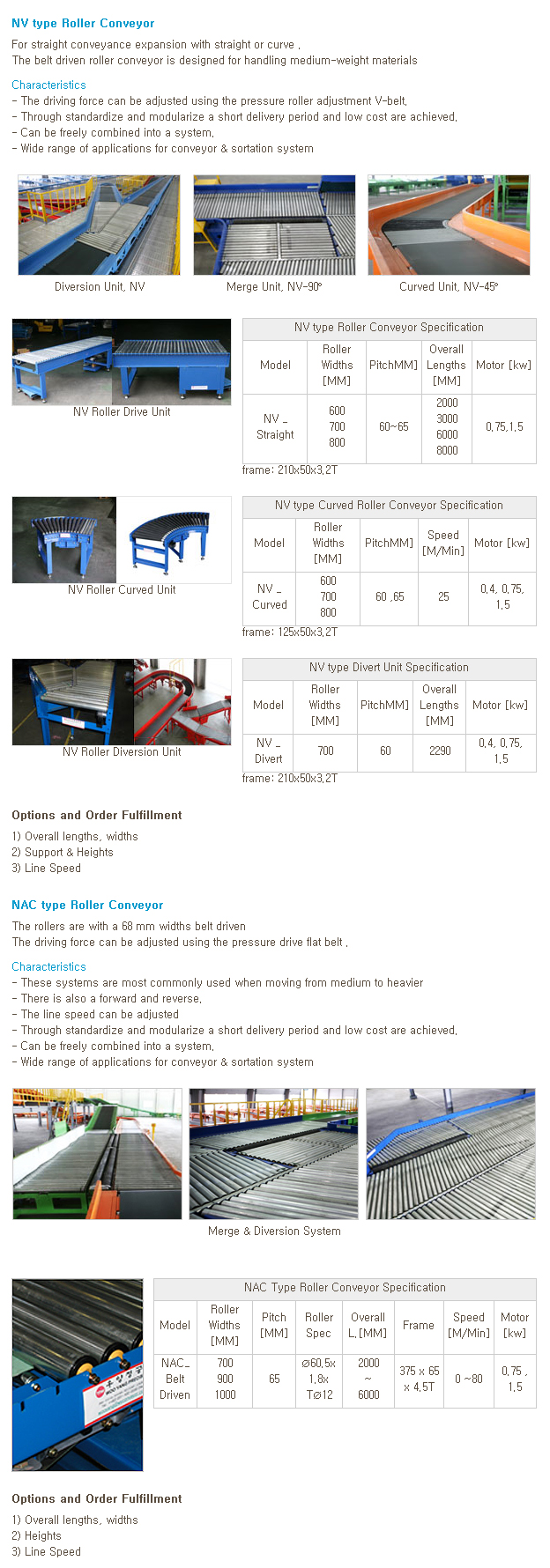 WOOYANG PRECISION Driven Roller Conveyor NV-Series, NAC_Belt Driven