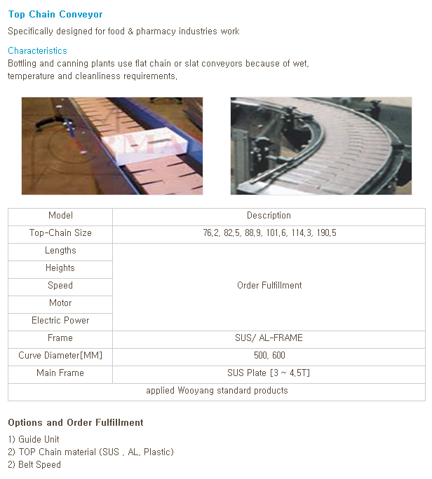 WOOYANG PRECISION Top Chain Conveyor
