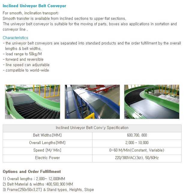 WOOYANG PRECISION Inclined Belt Conveyor (Univeyor-type)