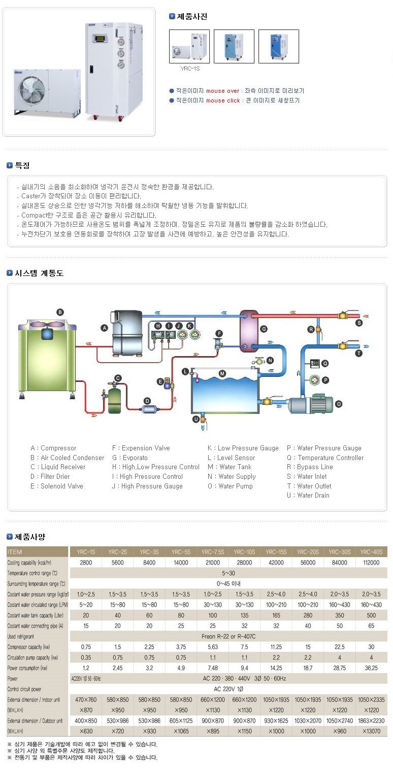 (주)예스쿨 공냉식 분리형 냉각기 YRC-S Series