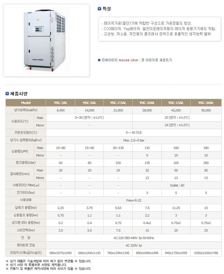 (주)예스쿨 레이저가공기용 냉각기 YRC-AL Series