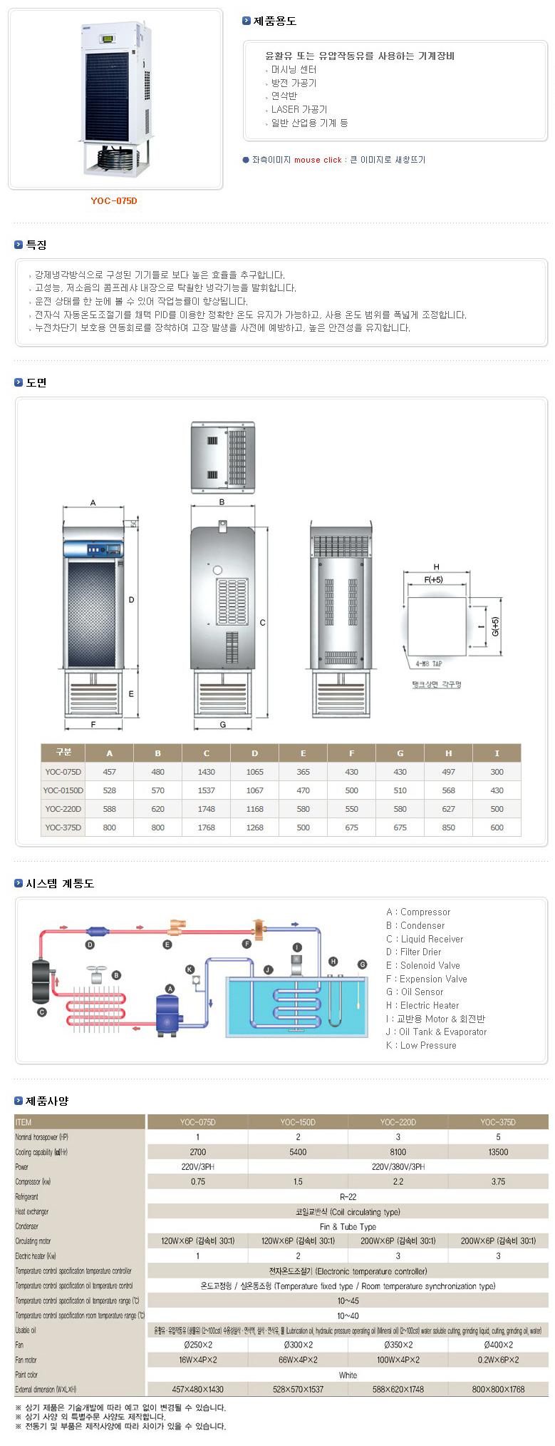(주)예스쿨 공냉식 침적형 냉각기 YOC-D Series