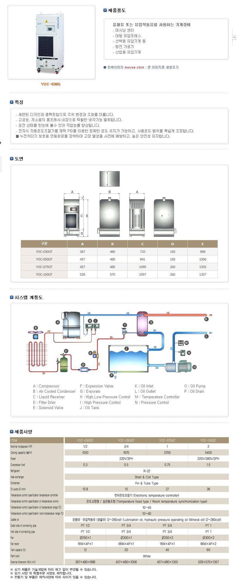 (주)예스쿨 공냉식 탱크장착형 냉각기 YOC-GT Series