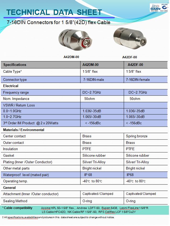 (주)용진일렉콤 RF 동축 커넥터 (7-16 DIN), 동축 주름형 급전선용  13