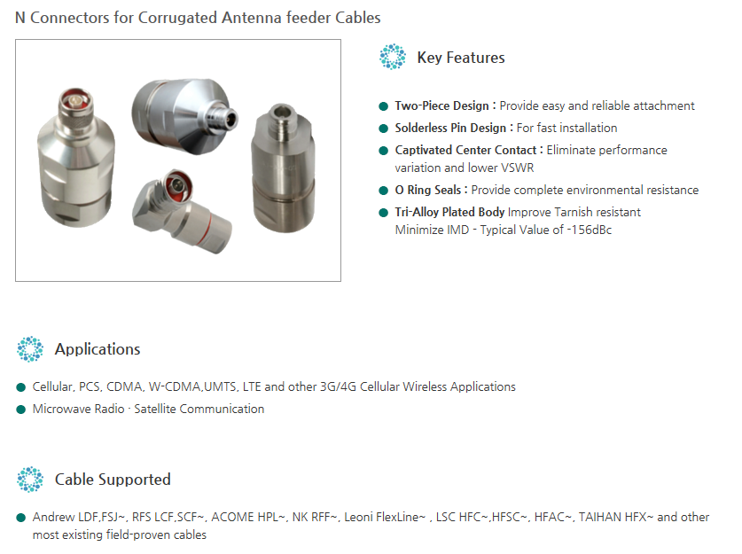 Yongjin Elecomm RF Connectors (N Connectors), For Corrugated Antenna feeder Cables
