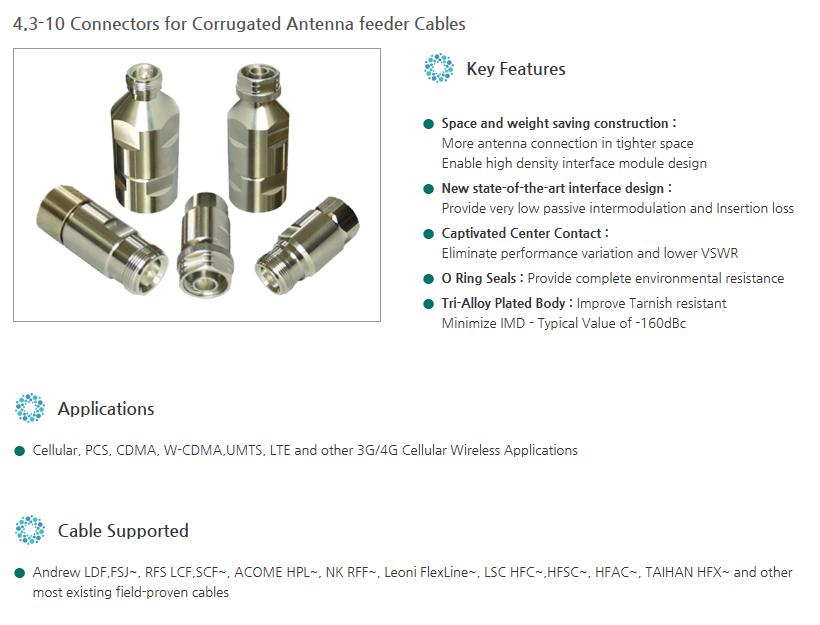 Yongjin Elecomm - RF Connectors (4 3-10), For Corrugated