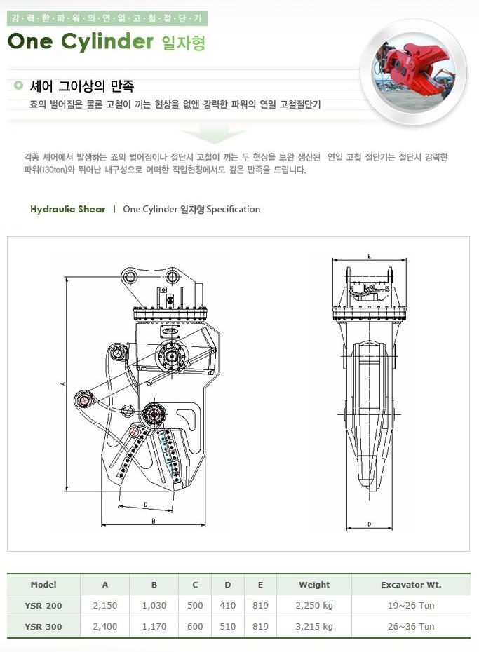 (주)연일지엔에스 One Cylinder Straight Type YSR-Series 1