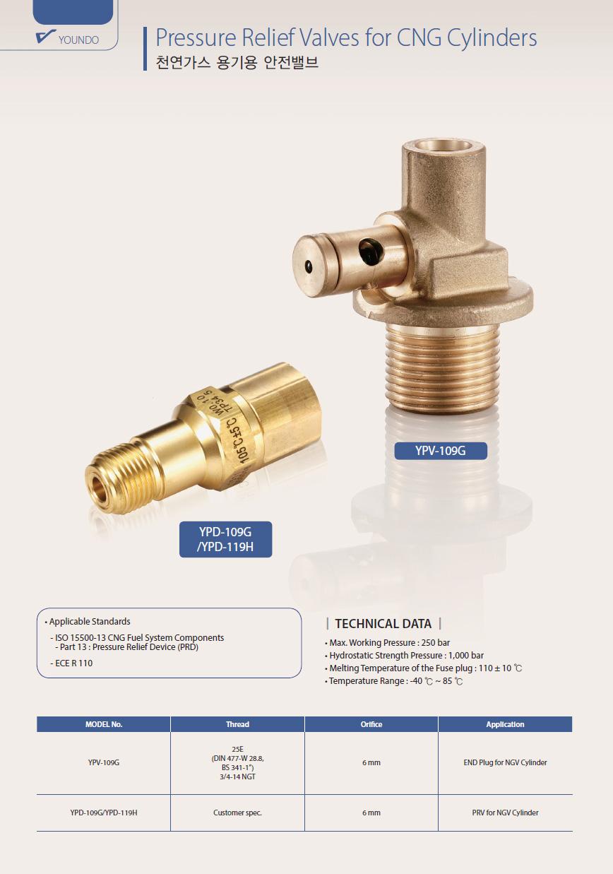 영도산업(주) Pressure Relief Valves YPV-109G/119H