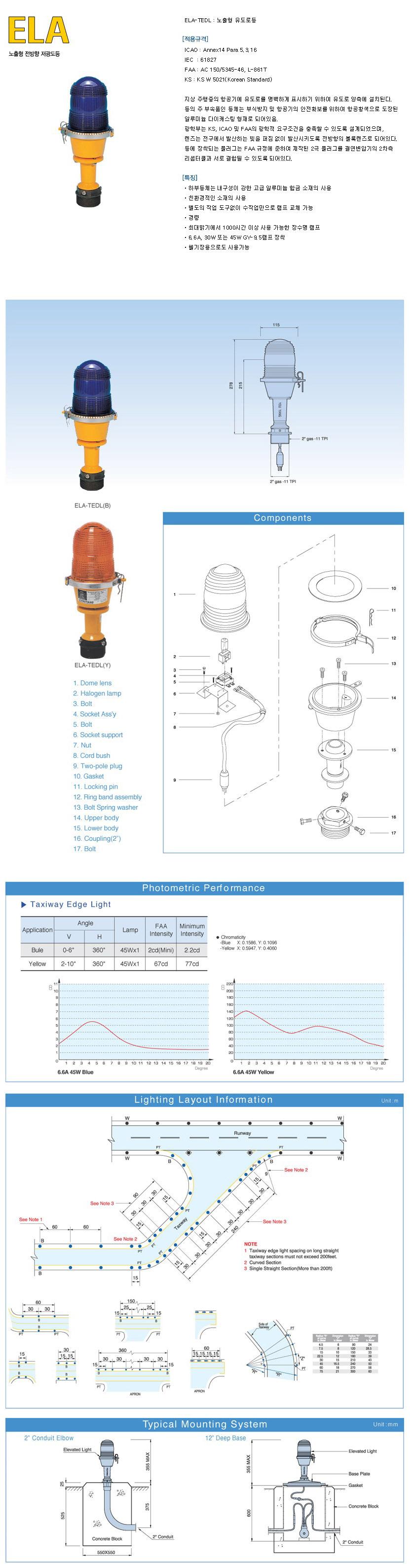 유양산전(주) 노출형 전방향 저광도등 ELA 1
