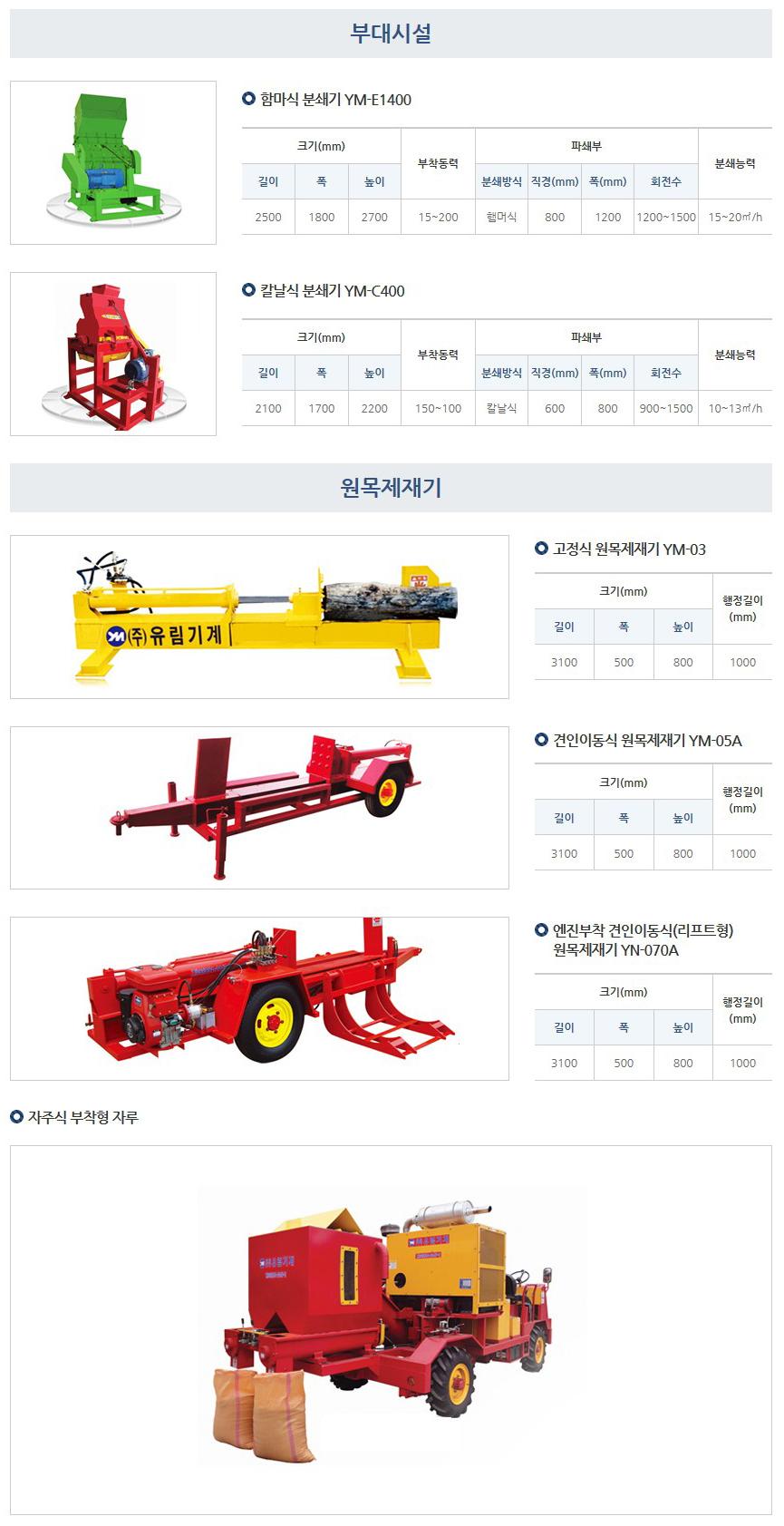 (주)유림기계 분쇄기 / 원목제재기  1