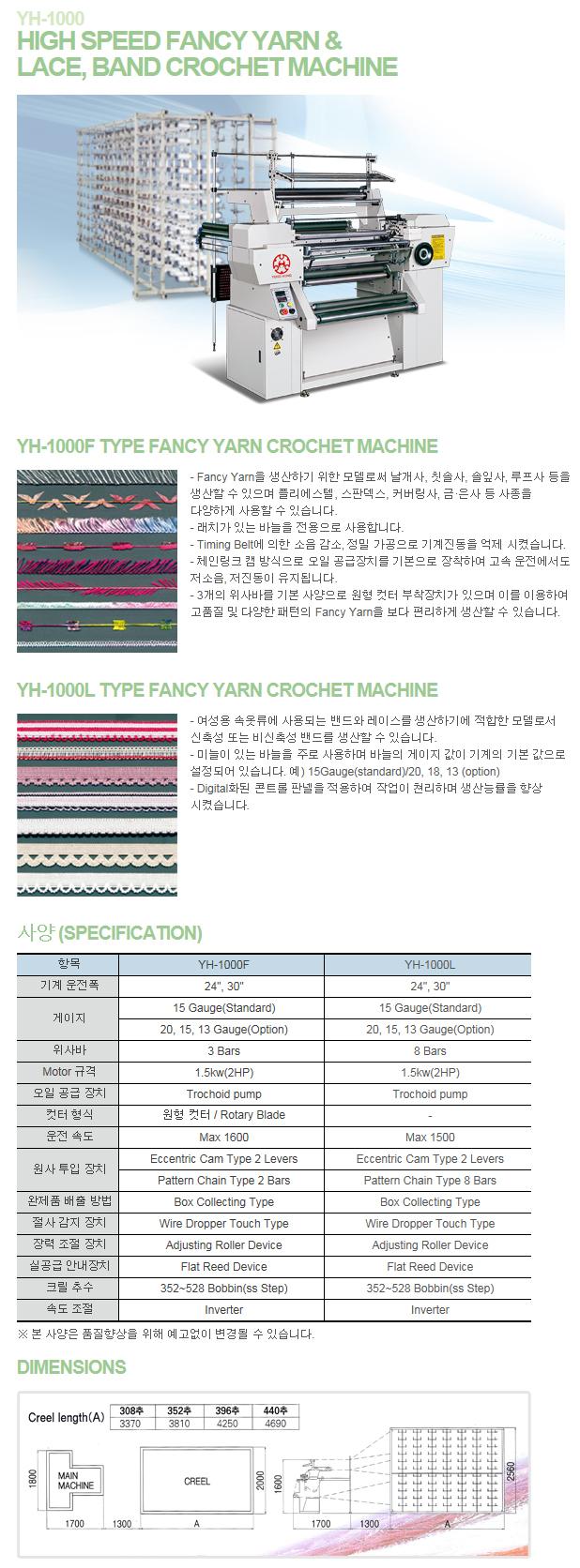 (주)영흥기계 High Speed Fancy Yarn & Lace, Band Crochet Machine YH-1000