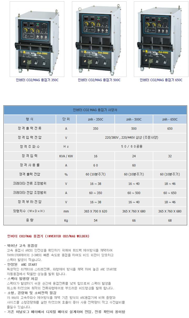 제니스 용접기 인버터 CO2/MAG 용접기 znh-350C/500C/650C