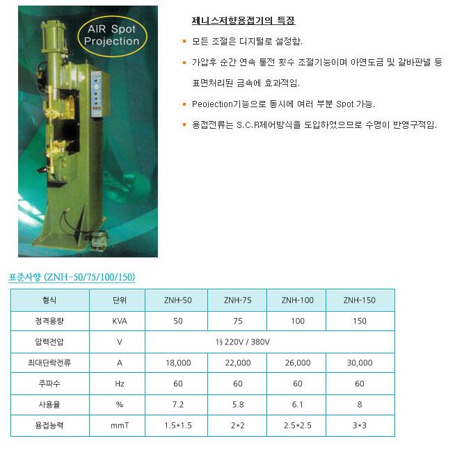 제니스 용접기 저항 용접기 znh-50/75/100/150
