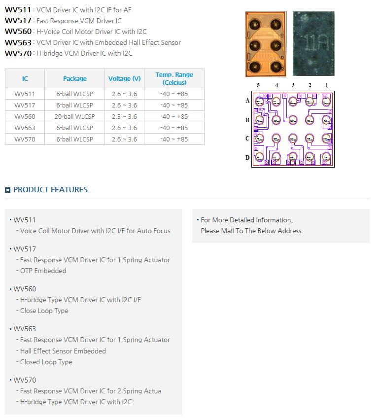 Zinitix Auto Focus Driver IC WV511/517/560/563/570