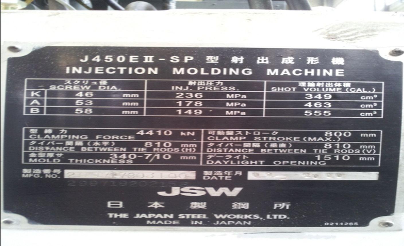 JSW Injection Molding Machine J450E II-SP J450E II-SP details