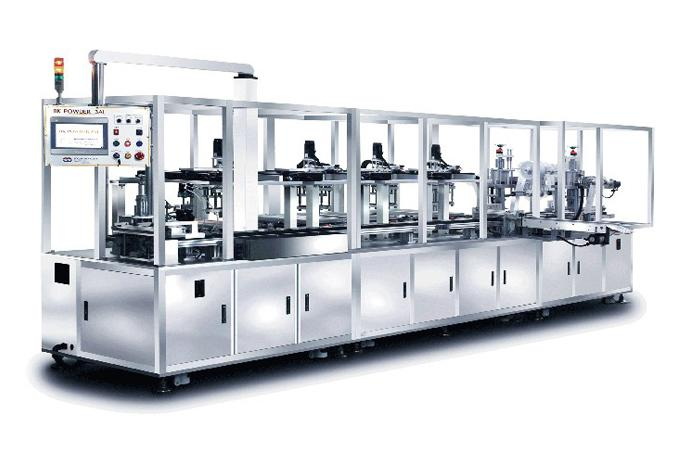 WOOJUNG - Fully automatic cosmetic wet powder press machine